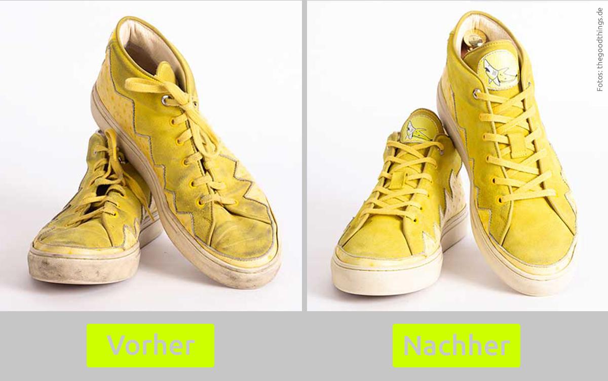 Vorher – nachher: gereinigte Sneakers
